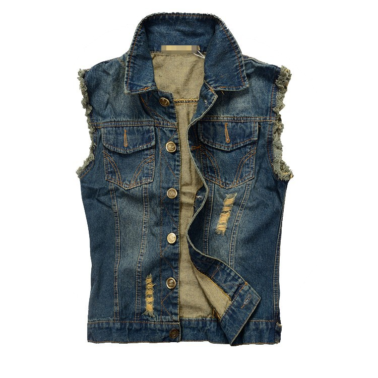 Fashion Mens Motorcycle Jean Vest Dark Blue Ripped Destroyed Washed Slim Fit Sleeveless Denim Jacket For Men Plus Size 6XL