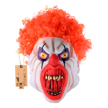 Latex Scary Joker Clown Full Mask Jagged Teeth Mask Orange Ghost Adult Party Mask Halloween Props Masquerade Fancy Dress Costume