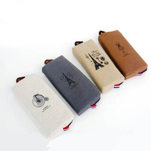 Simple Creative Paris Style Pattern Pen Pencil Case Retro Towers Linen Women Cosmetic Bags Storage Bag Office Stationery 15(China)