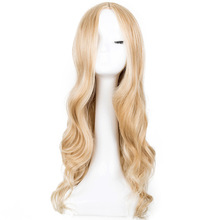 Cosplay Wig Fei-Show Synthetic Long Curly Middle Part Line Blonde Women Hair Costume Carnival Halloween Party Salon Hairpiece