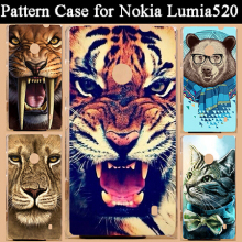 2015 new hot diy 3d painted tiger lion bear dog cat design cell phone case for nokia lumia 520 525 back cover Free Shipping