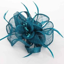 Handwork Beige Red Navy Blue Sinamay Flower Headwear For Women Fashion Elegent Fascinator Feather Hair Clip Girl Sinamay Hairpin
