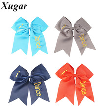 2 Pcs/lot 7.5'' High Quality Big Ribbon Hair Bow Printed Cheer Bow With Elastic Band Girls Hair Accessories