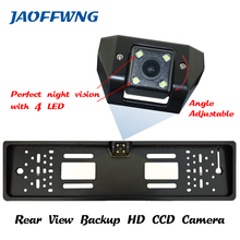 For CCD HD car rear view camera backup reverse Universal camera European License Plate Frame night vision with LED camera(China)