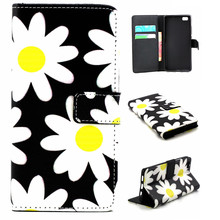 "Yellow/White Sun Flower Design Leather Flip Stand Wallet Card Holder Pouch Cover Case For Huawei P8 Lite 5.0"" Phone Funda Capa(China)"