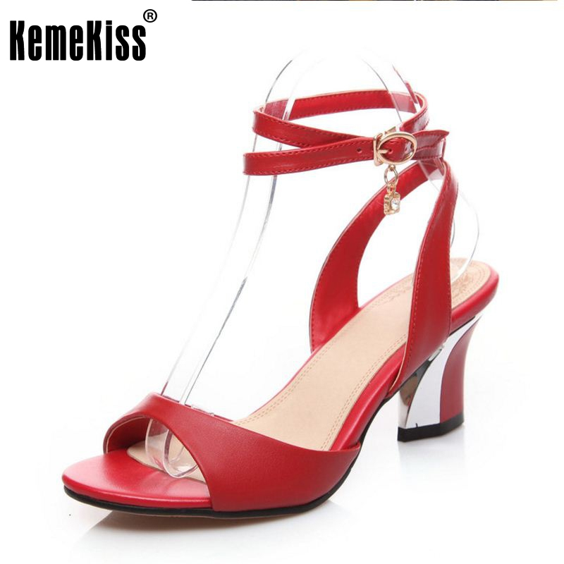 women real genuine leather open peep toe back strap high heel sandals sexy fashion brand heeled ladies shoes size 33-44 R6305<br>