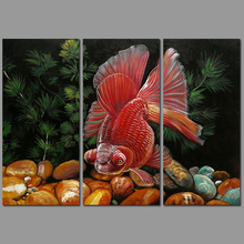 3pcs/set Modern Fashion Animal Fish decoration red pet goldfish wall art picture poster Canvas Painting for living room unframed