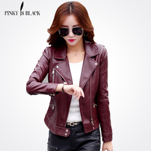 Pinky Is Black Plus Size S-3XL Fashion 2017 Autumn Winter Women Leather Coat Female Slim Short Leather Jacket Women's Outerwear(China)