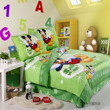100% Cotton happy Mickey cartoon Bedding set twin size 3/4/5pc green printed dog comforter Duvet Doona Cover kids bed sheets
