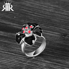 Big Sale Blossom Black Flower With Red Heart Women Stainless Steel Life Saving Ring For Party(China)