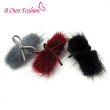 2017 fashion fur with suede bow hairclips hairband children adult fashion hair accessories alligater