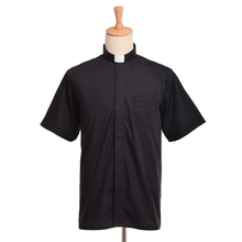 Clergy Tab Collar Shirt Men/Women Black Minister Preacher Priest Short Sleeve Tops(China)