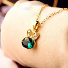 Korea Hot Gold Imitation Emerald Pendant Lovely Full  Chain Necklace Wholesale Female Rabbit Clavicle