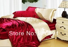 4 or 5Piece Set Full Queen Size Imitated Silk Satin Splicing Design Bed Linen Duvet Cover Set Comforter Sets in Burgundy/Beige