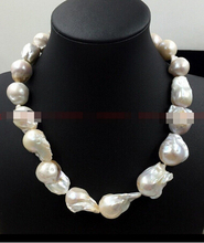 REAL AAA SOUTH SEA WHITE BAROQUE PEARL NECKLACE