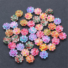 100pcs 10mm Mix Colors Resin Colorful Painted Little Flower Flatback Cabochon for DIY Nail Decoration(China)