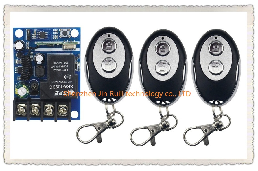New DC12V 24V 36V 48V 1CH RF Wireless Remote Control Switch System 3pcs ellipse shape transmitter &amp;1 receiver Learning code<br><br>Aliexpress