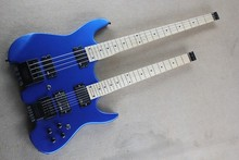 free shipping Double neck guitar 6 strings steinberg electric guitar 4 string bass metal blue color headless guitar  -15-625