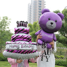 Large 2pcs/lot purple bear & birthday cake foil balloons baby shower wedding birthday party decoration mylar helium balloon