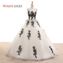 Vivian's Bridal Black And White Wedding Dress Ball Gown Sleeveless Sequin Tulle Lace Wedding Gown Floor Length WD2501(China)