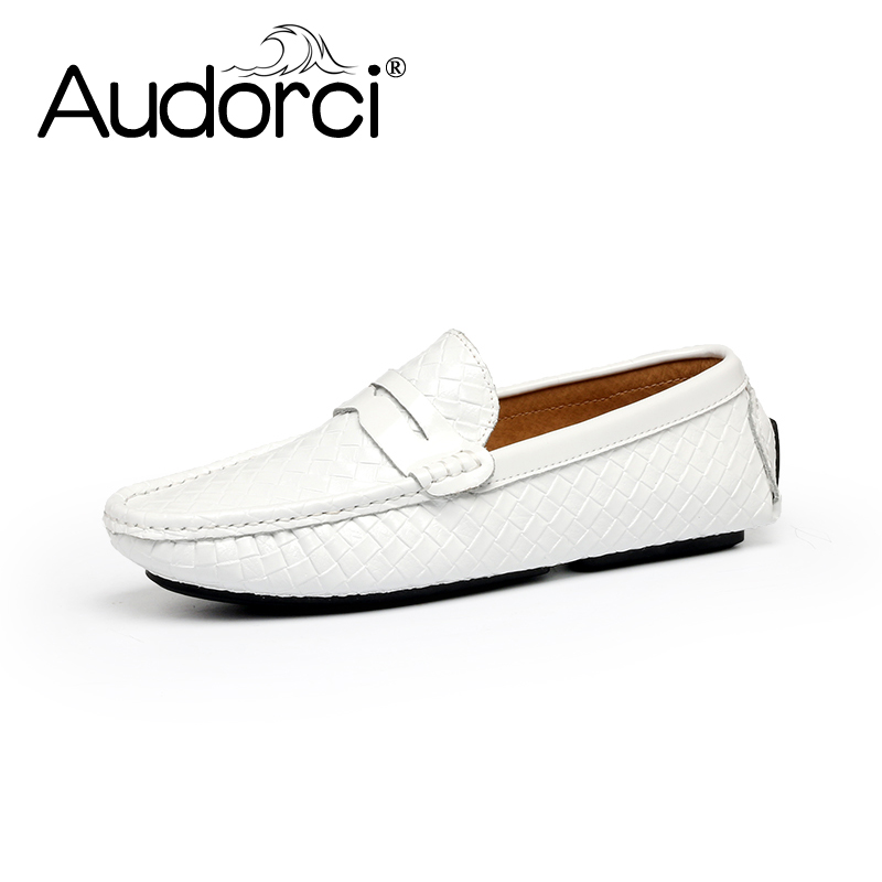 Audorci  Luxury Brand Mens Casual Shoes Fashion Peas Shoes Suede Leather Men Loafers Slip On Mens Flats Male<br>
