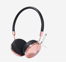 Newest Black+Champagne Gold Headset HiFi Stereo Rose Gold Headphone with Mic Foldable 3.5mm Music Earphone Microphone for Girls