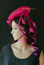 Hot pink fuchsia sinamay fascinator hat handmade fascinator for Races Wedding.(China)