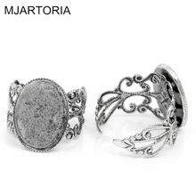 MJARTORIA 10PCs Oval DIY Adjustable Rings Base for Jewelry Ring Blanks Settings Hollow Silver Tone Supplies for Jewelry 18.3mm(China)