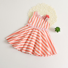 Girl Princess Dress 2017 Summer Girls Fashion New Orange Flower Shoulder Striped Sleeveless Party Dress Baby Girl Clothing  CH