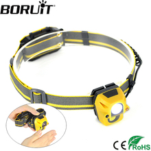 BORUiT 300LM XPE COB LED Mini Headlamp Body Motion Sensor Headlight Hunting Flashlight Camping Head Torch AAA Battery(China)