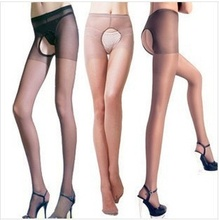 Free shipping Sexy two sides open files Free to take off the core-spun yarn thin tights Open fork hollow out silk stockings(China)