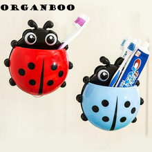 1 PC Cute Cartoon Ladybug Sucker Cup Toothbrush Holder Wall Shelf Toothbrush Rack Bathroom Household Items Decorative Shelves