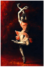 Free Shipping 100% Handmade Famous Red Ballet paintings on canvas Contemporary Abstract art oil painting for wall decor(China)