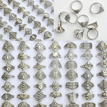 Imixlot Wholesale 30Pcs/Lot Jewelry Lot Mixed Style Tibet Silver Vintage Rings For Women