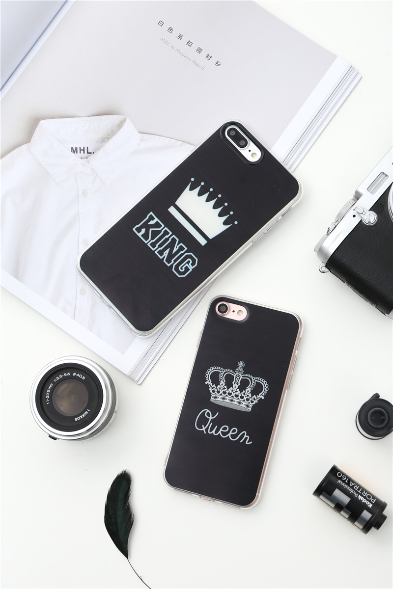 Valentine KING Queen Case for iPhone 6 Case for iPhone 5s 5 Cover Clear Silicone TPU Soft Phone Case for iPhone 8 7 6s Plus Cape 18