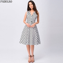 PADEGAO white polka dot a line casual dress turn down collar sleeveless expansion lace up summer plus size women party dresses(China)