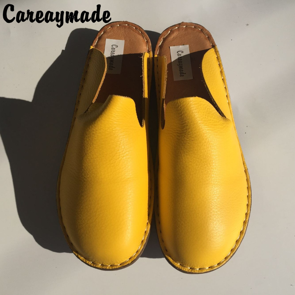 Careaymade-New Genuine leather shoes,Pure handmade flat shoes,Women the retro art mori girl slippers,Women fashion Casual shoes<br>