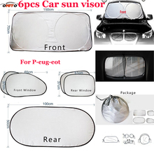 6pcs/set Car sun visor sunscreen insulation curtain block light Front/Rear shade anti UV windshield window for 207/301/308/309