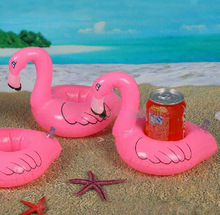 1PCS Hot Selling Mini Pink Flamingo Inflatable Drink Holders Floating Toy Pool Can Party Bath xd(China)