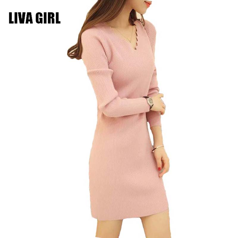 Women Sexy Sweater Dress Autumn Winter Fashion V Neck Bodycon Basic Mini Solid Color Knitted Dress Pullover Maxi Dress B32