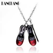 Women Charming Necklace Movie jewelry The Wizard of OZ Red Shoes Star Magic stick Pendant Necklace Alloy Collier