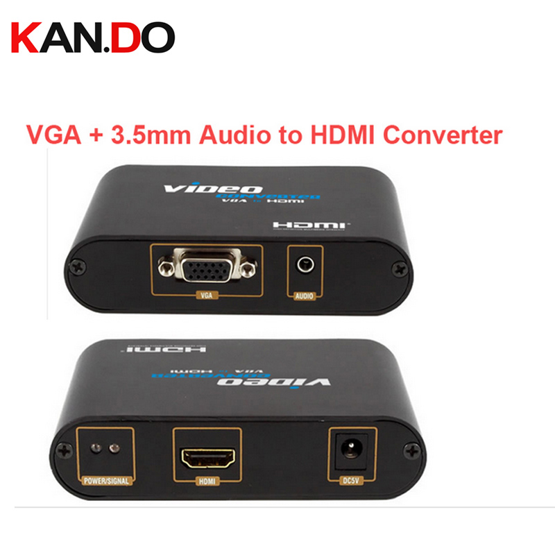 350 Stereo Audio in VGA in to HDMI Out Converter connecting PC to HDTV,VGA+3.5mm Audio to HDMI video Converter video adapter<br>