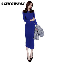 AISHGWBSJ Autumn Winter Solid Mid Calf Dress Women Long Cotton Dresses O-Neck Long Sleeve Sexy Skinny Split Female Dress QYX15(China)