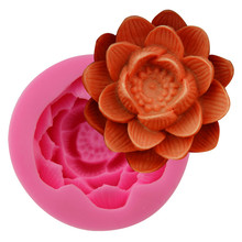 2017new DIY Big Lotus Flower Cake Moulds Silicone Candle Mold Fondant Cupcake Soap Candy Chocolate Decoration Baking Tool FQ3403