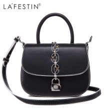 LAFESTIN Fashion Saddle Handbags Women Designer Real Leather bags Shoulder Luxury Lock Totes Multifunction brands Bag bolsa(China)