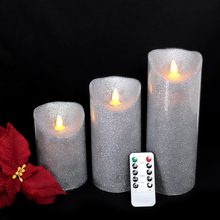 3pcs/lot remote control LED candle Real Wax Votive Pillar Candles Daily timer Holiday Decoration party glitter silver Christmas(China)