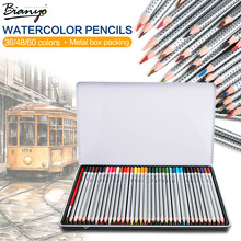 Bianyo 36 48 60 72 Colors Metal Box Watercolor Pencil lapis de cor Professional Non-toxic Lead-free Colored Pencil for Drawing(China)