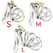 Buy New High Quality Male Chastity Device Bird Lock Stainless Steel Cock Cage Men's Virginity Lock Chastity Cock Ring Sex toys G168