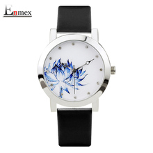 2017 lady gift Enmex silver case Lotus chinese style original design Oriental Graceful Underglaze blue fashion quartz watches(China)