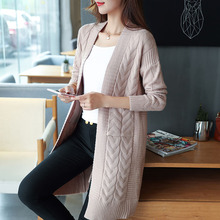 Good quality wool cotton sweater female long cardigan coat fashion winter pocket sweaters woman clothing lady tops khaki wrap(China)